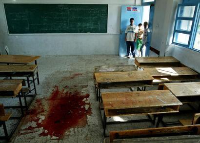 Egy palesztin iskola elleni terrorista elhárító preventív tanktámadás végeredménye