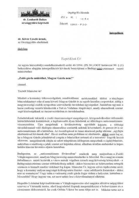 Lenhardt Balázs interpelláció