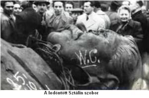 A ledöntött Stalin szobor