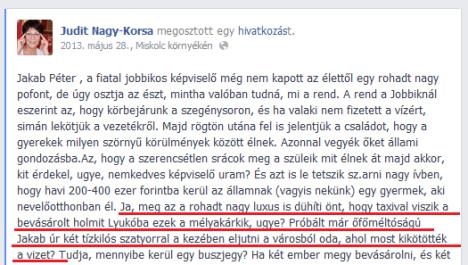 Nagy-Korsa Judit facebook-bejegyzése