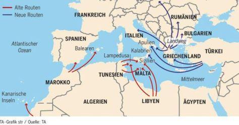 4. Az embercsempészek útvonalai az akadályoztatások függvényében rugalmasan változnak. A fenti térkép csak az afrikai végállomásokat mutatja, ahonnan európai útjukra indulnak a szervezett menekültek