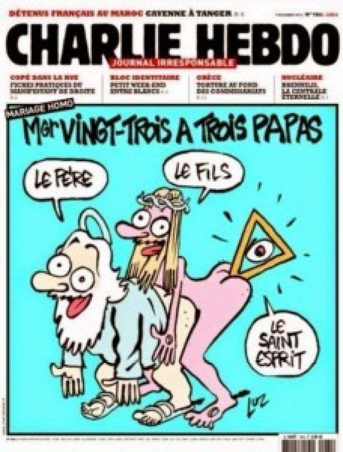 A Charlie Hebdo így ábrázolja a Szentháromságot: Atya, Fiú, Szentlélek.