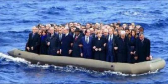 Je suis Charlie elaljasodott politikusok a Noé Bárkájába nem fértek fel.