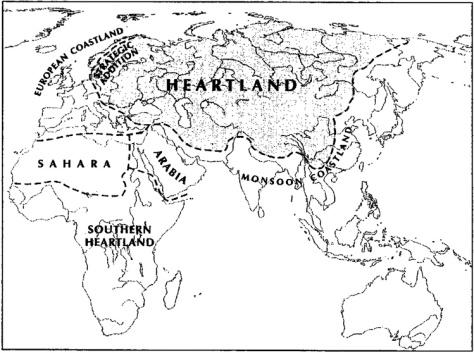 Mackinder világa 1919-benForrás- Cohen 2009
