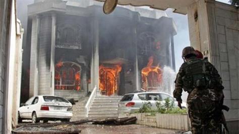 Az indiai konzulátus épülete a támadás után