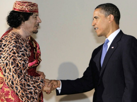 Muammar Gaddafi, the Jewish-descendent leader of Libya is greeted by President Hussein Obama, the Muslim Raïs of America