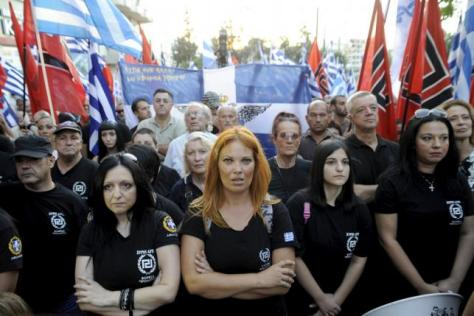 Far-right Golden Dawn party supporters attend the main pre-election rally outside the party's headquarters in Athens, Greece, September 16, 2015. REUTERS/Michalis Karagiannis