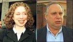 Chelsea Clinton és az apja Webb Hubbell. Itt még előreugró csimpánz majom fogakkal.