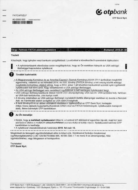 Az OTP megdöbbentő levele