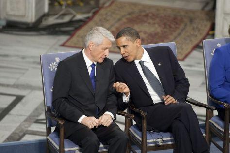 Tjorborn Obama régi barátja. Itt az Obama Béke Nobel díjának átvételi ünnepségén!
