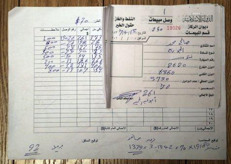 Köolaj eladasi szamlak a Rijura kúttól, tonnában mérve. 70.-USD/tonna, mindegyik szállítmány kb. 20 tonna. $1342.60. Dátum: 23. Január 2016