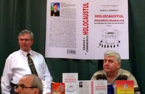 Zarnescu SRI-ezredes könyvbemutatója az Eminescu könyvesboltban, Bukarestben: Holokauszt -Ördögi rémmese