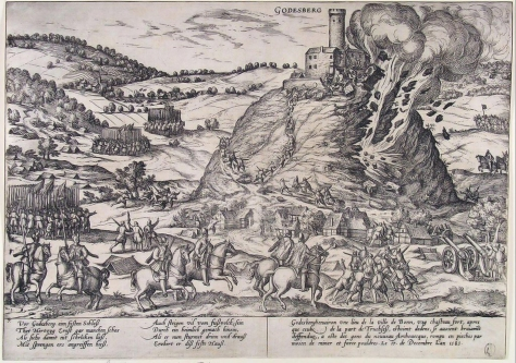 Példa a középkori alagút-hadviselésre_Godesburg bevétele 1583-ban egy a hegy alatt felrobbantott aknának volt köszönhető