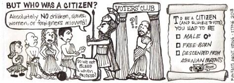 Kik szavazhattak Athénban? Csak azok, akiknek Athéni szüleik voltak, szabadnak születtek, és férfiak voltak! Ki nem szavazhattak? Azok, akik idegenek voltak, nők, gyermekek.