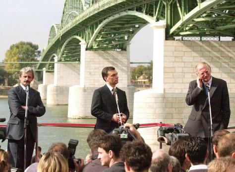 Orbán a Mária Valéria -híd avatásán 1991-ben