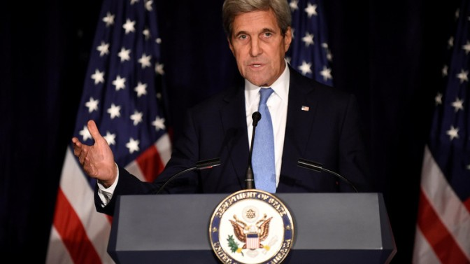 U.S. Secretary of State John Kerry speaks with the media after meeting Russian Foreign Minister Sergei Lavrov and other officials for the International Syria Support Group meeting at the Palace Hotel in Manhattan