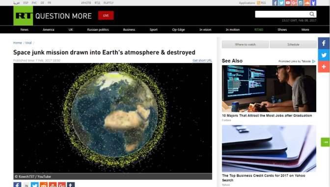 Az Űrszemét Küldetés megsemmisült a Föld légkörében