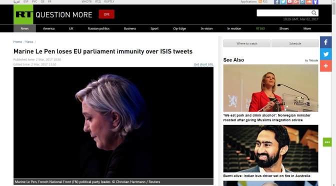 Egy Twitteren tett ISIS bejegyzés miatt veszítette el Marine Le Pen EU parlamenti mentelmi jogát