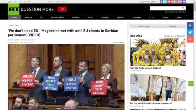 """""""Szerbia! Oroszország! Nem kell az EU!""""  – botrányos közjáték a szerb parlamentben (videóval)"""