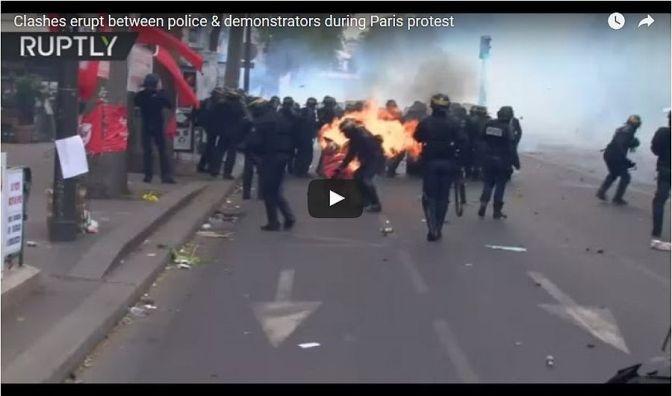 Könnygáz és Molotov koktél Páris központjában