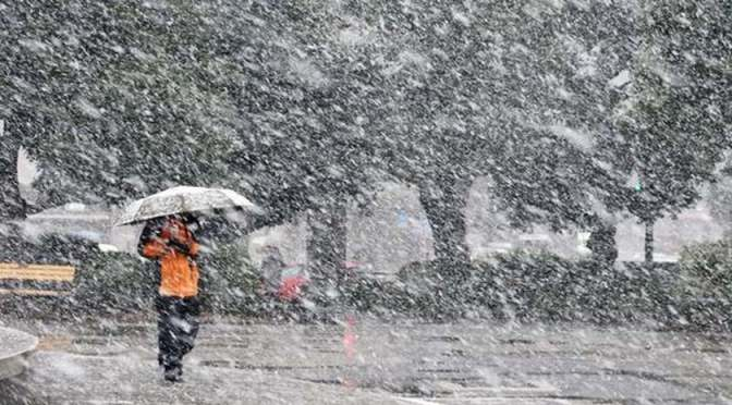 Leesett az idei első hó Tokióban